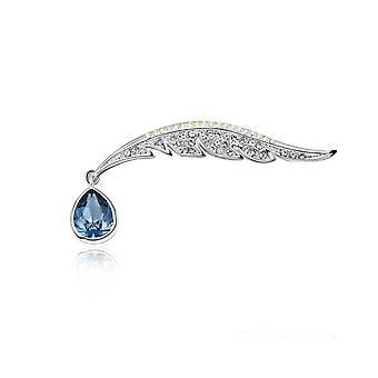 Broche de pluma de pavo real de mujer adornado con cristal Swarovski azul 2662