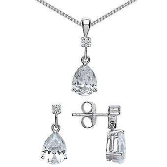 Jewelco London Rhodium Plaqué Sterling Silver Pear Cubic Zirconia Tears of Joy Earrings Necklace Ensemble 18 pouces