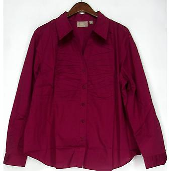 Kelly by Clinton Kelly Poplin Shirt w/ Magenta Purple Top A203272