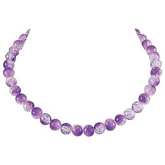 Eternal Collection Carnival Purple Czech Glass Crackle Bead Silver Tone Necklace