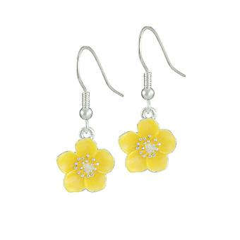 Ewige Sammlung Buttercup gelb Emaille Silber Ton Blume Tropfen durchbohrt Ohrringe