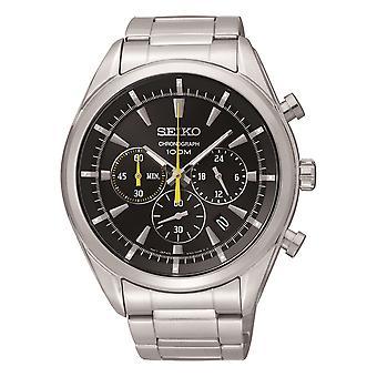 Seiko Chronograph Schwarz Zifferblatt Silber Edelstahl Quarz Herren's Uhr SSB087P1