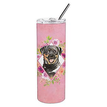Rottweiler Pink Flowers Double Walled Stainless Steel 20 oz Skinny Tumbler