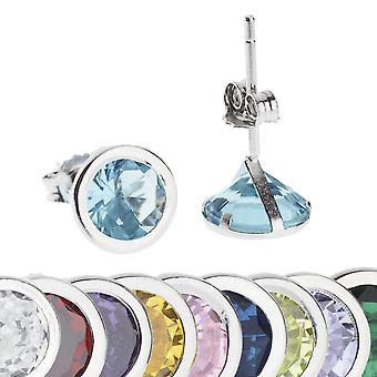 925 Sterling Silver Stud Earrings-Zirconia Birthstone 7mm