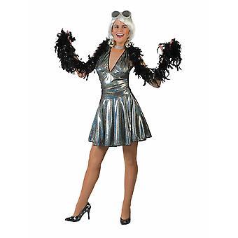 Disco Look Women's Costume Mini Dress 70s Diva Silver Costume Ladies