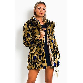 IKRUSH Womens Lara Leopard Print Faux Fur Coat