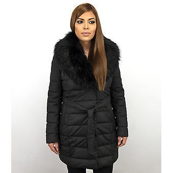 Long Parka Winter Coat - With Black Faux Fur Collar - Black