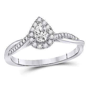 1/3 Carat (ctw G-H, I1) Pear Drop Marquise Diamond Engagement Ring in 14K White Gold