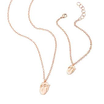 The Rolling Stones Rose Gold Necklace and Bracelet Set