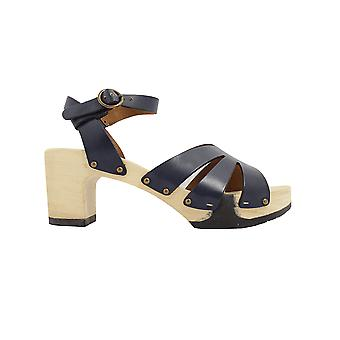 Paul Green 7459-02 Navy Leather Womens Ankle Strap Platform Sandals