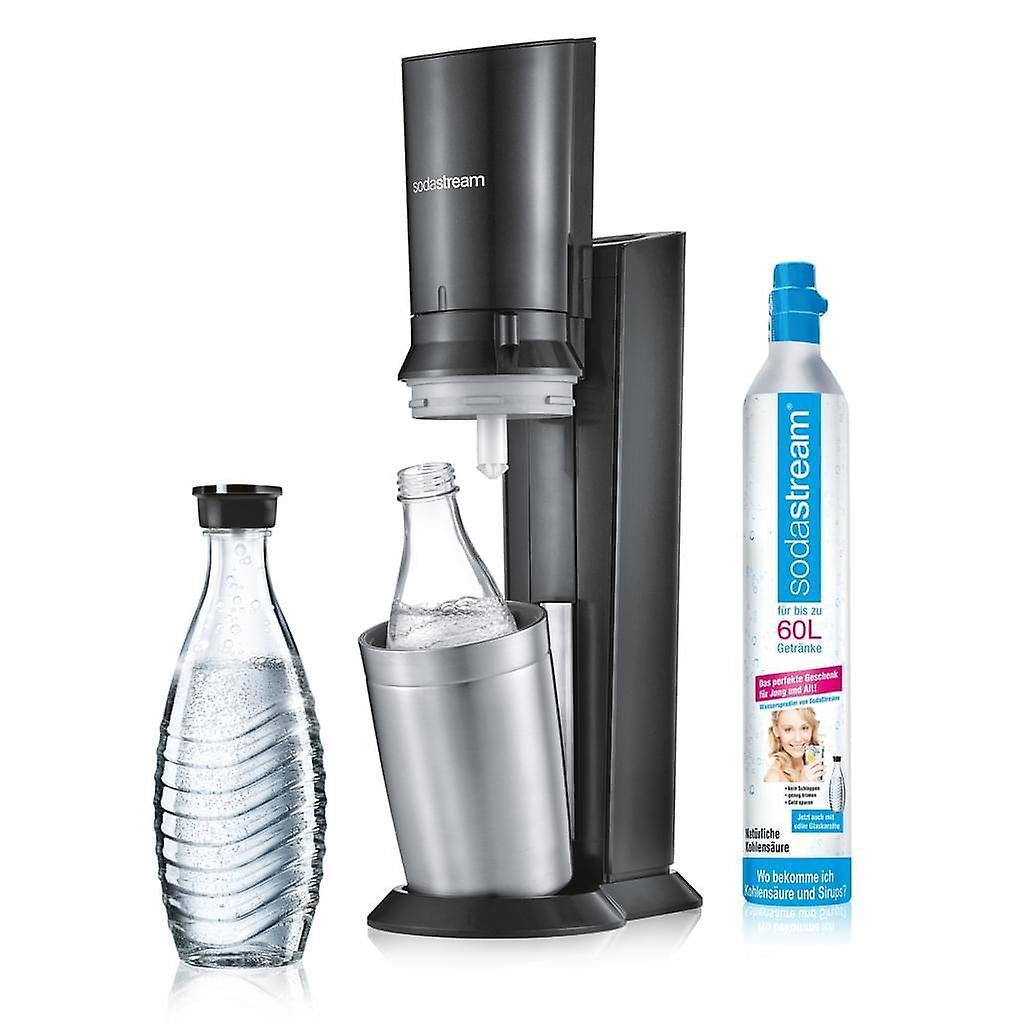 SodaStream Crystal 2.0 Action Pack Water Bubble, Titanium + 3 Glass Carafes 0.6L