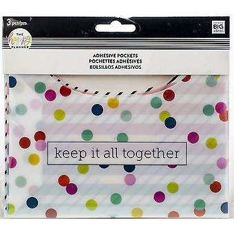 Happy Planner Big/Medium Adhesive Pockets 3/Pkg-Multi Dot