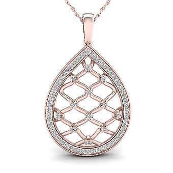 IGI Certified 10K Rose Gold 0.25ct TDW Diamond Drop Filigree Fashion Necklace
