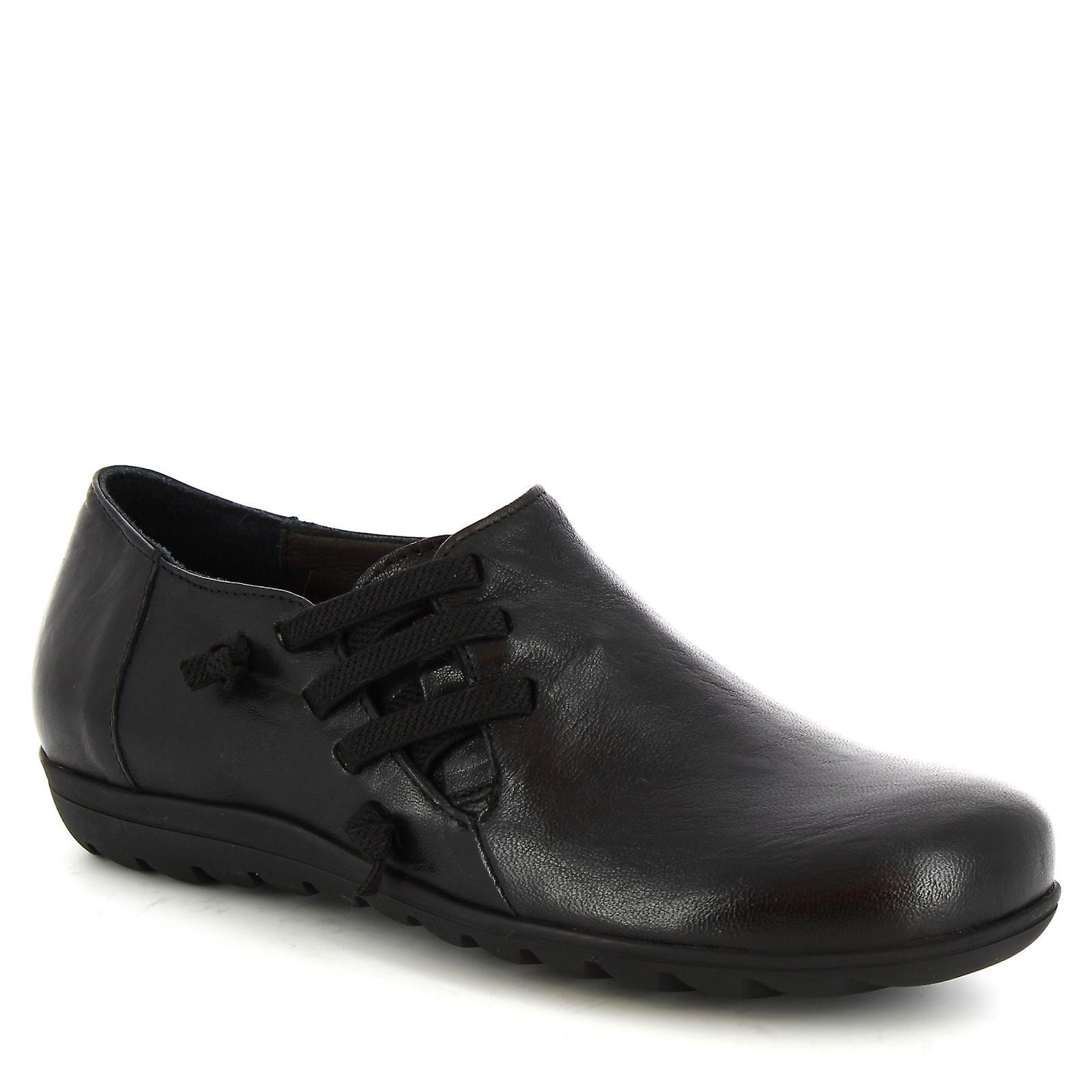 Leonardo Shoes Women's handmade round toe lace-ups shoes black calf leather