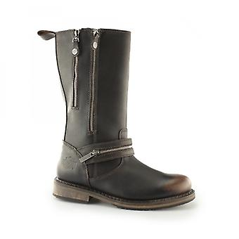 Harley Davidson Sackett Ladies Leather Zip Up Mid Calf Boots Brown