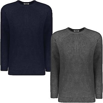 Lambretta Mens Rib Knit Knitted Warm Winter Crew Neck Pullover Jumper Sweater