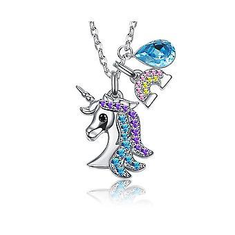 Collier Femme Licorne orné de cristal de Swarovski Bleu 8381