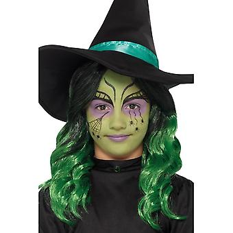 Barn häxa Halloween Facepaint Green, klistermärken/Glitter/Crayon/svamp/borste