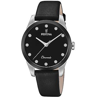 Reloj Festina F20473-3 - CERAMIC Bo tier Steel Plata Pulsera de cuero negro negro Dial Mujeres