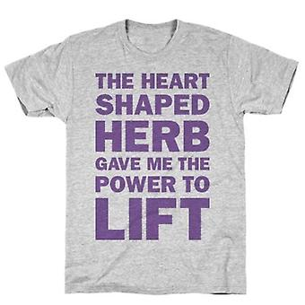 L'herbe en forme de coeur a donné le t-shirt gris