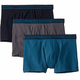 Emporio Armani Logo Cotton Stretch 3-Pack Boxer Brief, Grey / Marine / Oil Blue, X Large