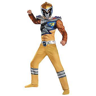 Boys Gold Ranger Dino Muscle Costume - Power Rangers