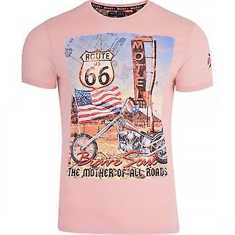Rohkea sielu miesten reitti 66 Highway T paita Biker Yhdysvaltain lipun Yhdysvallat Harley Davidson moottoripyörä T paita