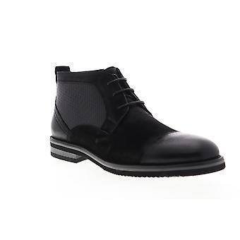 Zanzara Siena  Mens Black Leather Lace Up Chukkas Boots Shoes
