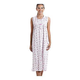 Camille Classic ærmeløs Pink blomster Print 100% bomuld hvid natkjole