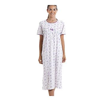 Camille Classic Korte mouw Paarse Floral Cotton Nightdress