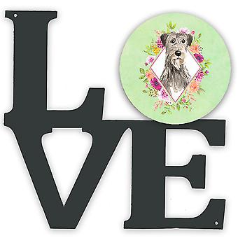 Irish Wolfhound Green Flowers Metal Wall Artwork LOVE