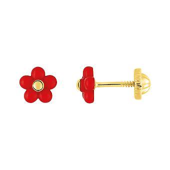 Ohrringe Clous VIS LAQUE Fleur Rouge Gold 375/1000 (9K)