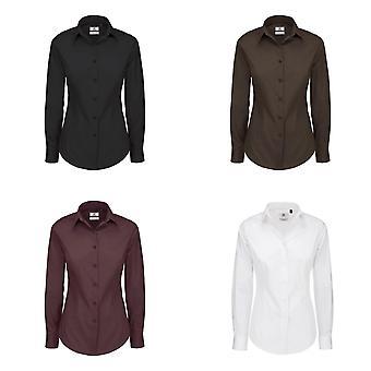 B&C Womens/Ladies Black Tie Formal Long Sleeve Work Shirt