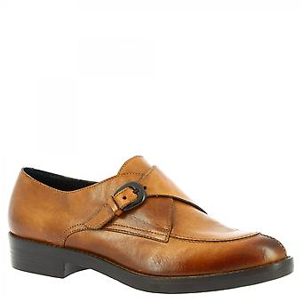 Leonardo Schuhe Frauen's handgemachte elegante Mönch schuhe aus braunem Kalbsleder