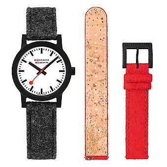Mondaine officiële Zwitserse spoorwegen Essence Quartz mannen horloge set MS 1.32110. LH. SET