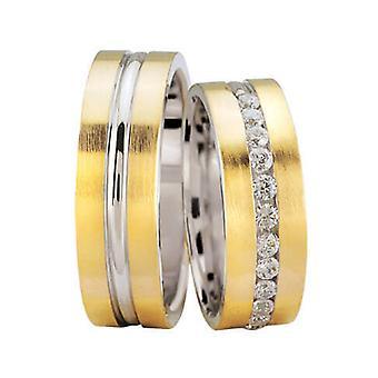 Geel gouden trouwringen met 11 diamanten