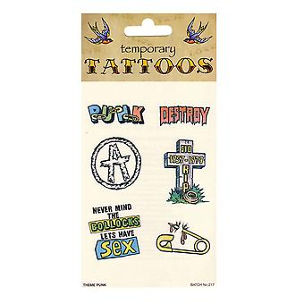 Bristol Novelty Punk Theme Temporary Tattoos (Pack Of 10)