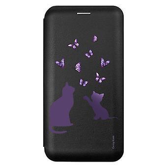 Funda para Samsung Galaxy A51 negro patrón gatito jugando con la mariposa