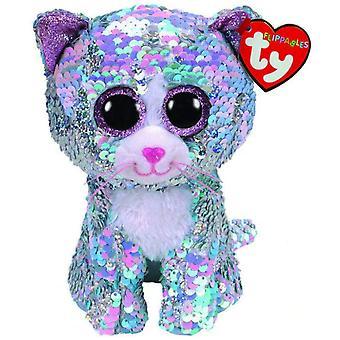 TY Flippable Sequins Whimsy Blue Cat Beanie Buddy - Medium