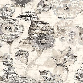 Lucy in the Sky Vintage Floral Wallpaper Silver Rasch 803709 Lucy in the Sky Vintage Floral Wallpaper Silver Rasch 803709