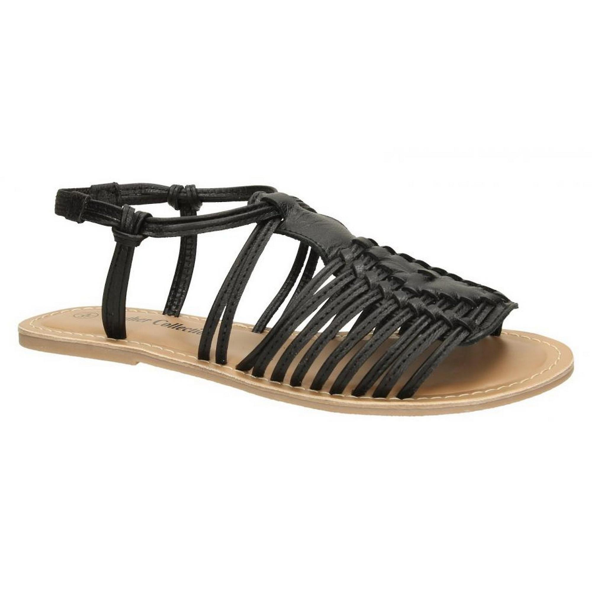 Leather Collection Womens/Ladies Leather Flat Strappy Sandals dGrOm