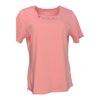 Denim & Co. Women's Top Perfect Jersey Short Sleeve T-shirt Pink A214717