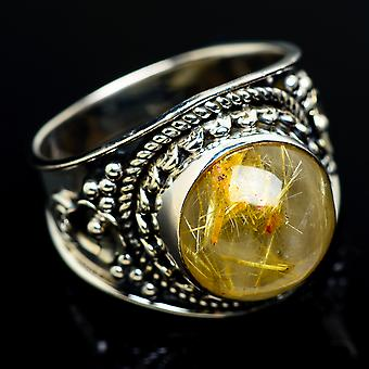 Rutilated Quartz Ring Size 6.75 (925 Sterling Silver)  - Handmade Boho Vintage Jewelry RING7704