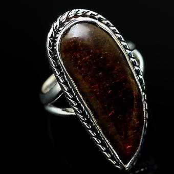 Large Ammolite Ring Size 6.75 (925 Sterling Silver)  - Handmade Boho Vintage Jewelry RING8140