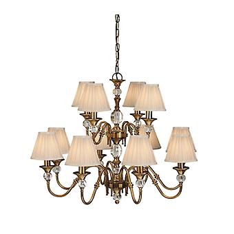 12-light Pendant Lamp Polina, Antique Brass And Crystal, Beige Lampshades