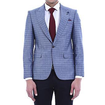 Light blue linen dot patterned jacket | wessi