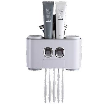 Automatic Dust Proof Toothpaste Dispenser & Toothbrush Holder With Cups