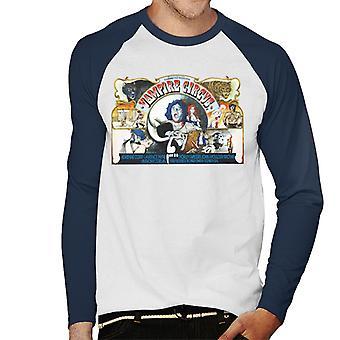 ハンマーホラー映画ヴァンパイアサーカスシーンモンタージュメン&アポス;s野球ロングスリーブTシャツ