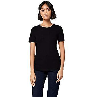 MERAKI Women's Standard Rib Crew Neck T-Shirt, Zwart, L (US 10)