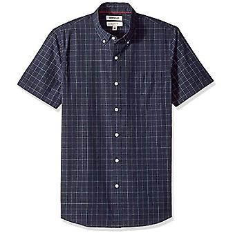 Goodthreads Men's Slim-Fit Short-sleeve Plaid Poplin Camicia, -navy windowpane, Large
